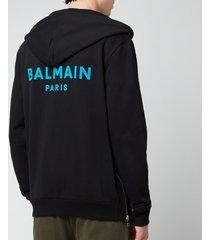 balmain men's flock zip-through hoodie - black/blue - xl