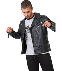 jaqueta biker couro calvin klein jeans zíperes preta - kanui