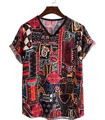 hombres tribal casual soft tricolor all over print tribal camiseta