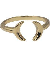 anel papillô joias ajustável 2 luas, em ouro 18k