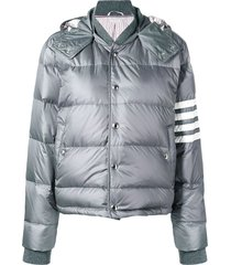 4-bar striped puffer bomber jacket,