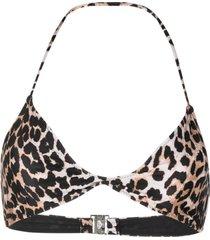 ganni leopard-print twisted bikini top