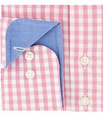 sleeve7 heren overhemd roze allover ruiten poplin modern fit