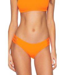 women's becca fine line hipster bikini bottoms, size small - orange