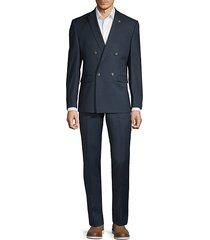slim-fit textured suit