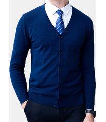 cardigan per uomo a maniche lunghe con scollo a v, 100% lana