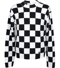 kenzo checks sweater in white / black cotton