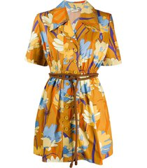 floral belted mini dress