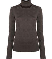 chalayan split neck sweater - brown