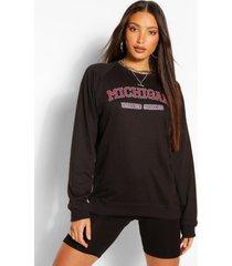 lang oversized gewassen trui met 'michigan'-slogan, zwart