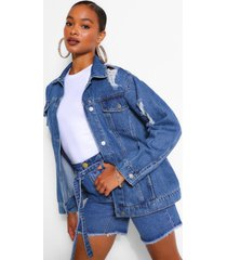 oversized distressed jean jacket, mid blue