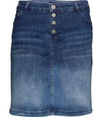 denim skirt plus short buttons knälång kjol blå zizzi