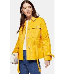 petite marigold crinkle crop belted shirt - marigold