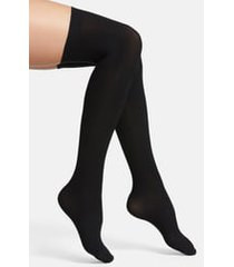 women's commando up all night thigh high socks, size medium/large - black