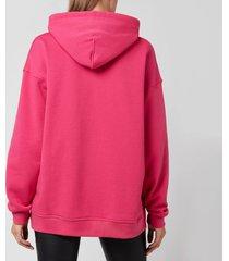 ganni women's oversized hoodie - shocking pink - l/xl