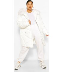 plus faux fur hooded mid length puffer coat, off white