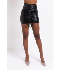akira don't cross me faux leather ruched mini skirt