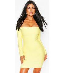 bardot-jurk met lange mouwen en bardot-print, citroen