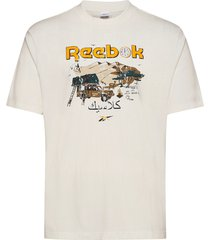 cl intl tee south t-shirts short-sleeved creme reebok classics