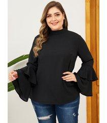 yoins plus talla negro diseño escalonado crew cuello blusa