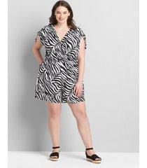 lane bryant women's drawstring cap-sleeve crossover romper 14/16 graphic zebra