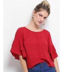 blusa cantão manga babados feminina