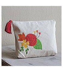 cotton cosmetic bag, 'love blossom' (9 inch) (el salvador)