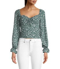 astr the label women's ruffled ditsy-print peasant top - blue ivory ditsy - size xs