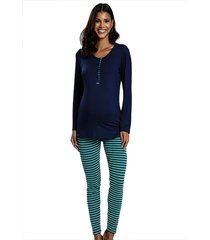 pijama longo legging em cotton listrado azul - azul - feminino - dafiti
