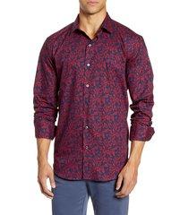 men's bugatchi shaped fit floral button-up shirt