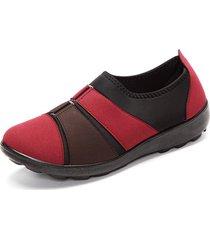donna scarpe basse slip-on in cotone morbido con fibbia in colore abbinata mista di stile causal e retro