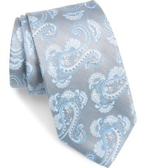 men's david donahue paisley silk tie, size one size - grey