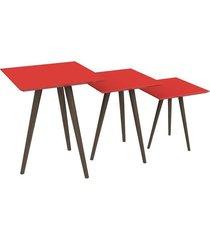 conjunto de mesa quadrada 3 peças pinoquio vermelho