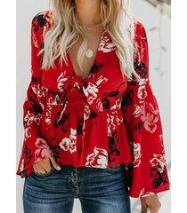 botón diseño tropical deep v blusa con mangas anudadas cuello bell