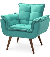 poltrona decorativa opalla pés palito azul turquesa - ds móveis - kanui