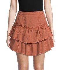 free people women's ruffles in the sand tiered denim skirt - orange - size 12
