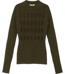 'argyle' cutout rib-knit sweater