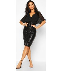 batwing top sequin skirt midi, black