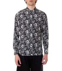 laneus black and white shirt with floral print