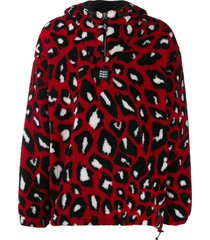 msgm animal print shearling hooded sweater - red