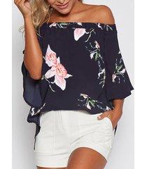 blusa con abertura en los hombros con estampado floral al azar