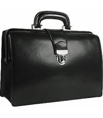 forzieri designer doctor bags, black italian leather buckled compact doctor bag