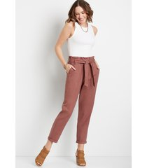 maurices womens high rise brown linen tie waist ankle pants