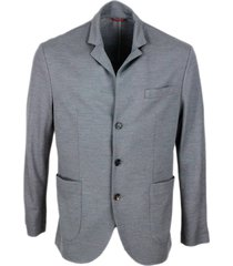 brunello cucinelli blazer jacket in wool pique with 3 buttons, patch pockets with visible stitching