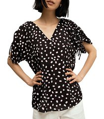 mallow dot ruched blouse