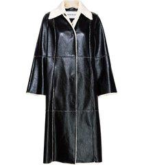nino coat lange leren jas lange jas zwart stand studio