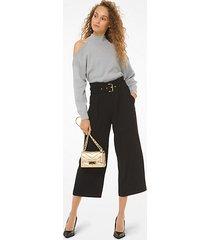 mk pantalone culotte in cady con cintura - nero (nero) - michael kors