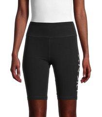 dkny sport women's drop shadow logo biker shorts - black white - size m