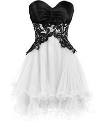 blevla sweetheart tulle short prom dress cocktail party homecoming gown white...