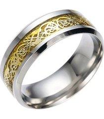 anillos vintage dragon acero inoxidable 316l c151 dorado